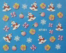Accessoire ongles : nail art- Stickers noël : Père noël , sapins , cadeaux