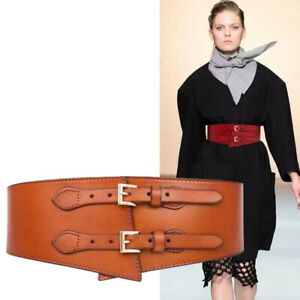 Real Leather Waist Belt Elastic Stretch Wide Waistband Gold Double Buckle Belt