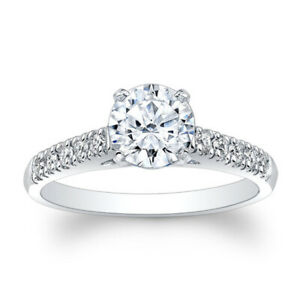 1.10 Ct Round Solitaire Diamond Engagement Ring 14K Solid White Gold Size M N O