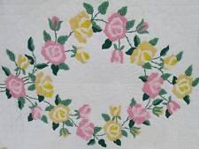 Vtg Quilt Applique Roses Yellow Pink Green Bud Flower White Scalloped Edge 78x89