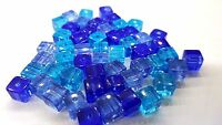 50 pieces 6mm Crystal Glass Square / Cube Beads - BLUE MIX - A3068