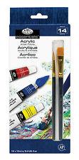 ROYAL LANGNICKEL Set of 12 Acrylic PAINT TUBES BONUS 2 Brushes Painting Art