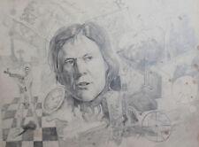 Vintage surrealist pencil drawing man portrait