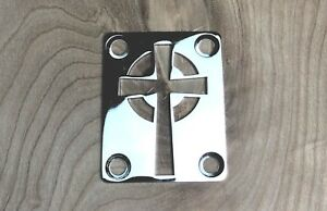 Celtic Cross Neck Plate for your Guitar or Bass - Chrome