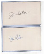 """(2) JIM """"JIMMIE"""" COKER INDEX CARD SIGNED 1956-67 PHILLIES REDS PSA/DNA 1936-1991"""