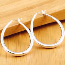 U-Shape Smooth Design Trend Loop Earrings Female 925 Sterling silver Jewelry NEW