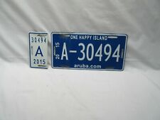 used Caribbean Aruba blue white car number plate 30494 & licence tag for display