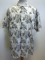 MENS BLUE HARBOUR VINTAGE HIBISCUS FLORAL BEIGE GREY HAWAIIAN SHIRT UK XL EU 54