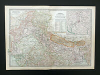 Antique Map Of India Nepal Bhutan Kashmir Rajputana Calcutta Everest   1903