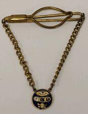 Vintage FLT Odd Fellows Skull Crossbones Hanging Enamel Tie Clip Medallion
