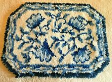 Vintage Latch Hook Shag Rug Wall Hanging Blue White Delft Pattern Mid Century