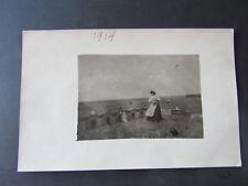 1914 RPPC Photo Hillsboro Kansas Marion County Farmer Lady Feeding Her Chickens