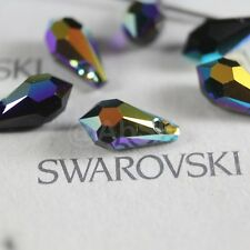 8 Swarovski Element 6000 Top Drilled 11mm Teardrop Pendant Crystal Jet AB