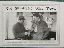 1915 WWI WW1 PRINT ~ A FRENCH SOLDIER SEWS A BUTTON ON BRITISH COMRADE'S TUNIC