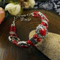 Jade Bead Charm Turquoise Tibet Silver Bracelet