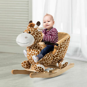 Animal Baby Rocking Horse Children Toy Seat Rocker Giraffe w/ 32 Songs Ride Wood