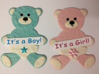 5 Pink Or Blue Boy Or Girl Bears Baby Card Making Scrapbook Craft Embellishments