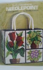 Vintage 1976 Columbia Minerva Needlepoint Greenhouse Tote Plastic Canvas No 8188