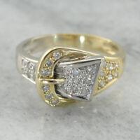 Fashion Women Two-Tone Gold 925 Silver Ring White Topaz Belt Buckle Gift Sz5-10