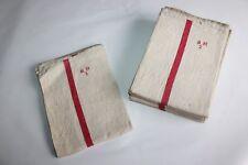 6 torchons anciens en lin, liteaux rouges,numérotés et chiffrés MH 50 cm x 92 cm