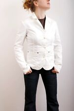 Gas Basic Womens White Fitted Two Pocket Button Front Cotton Jacket UK10 SUPER!