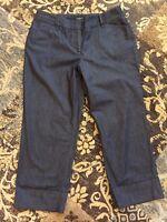 Ann Taylor Curvy Womens Summer Stretch Denim Cropped Pants Capris sz 4 S
