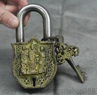 """4.8 """"vieux chinois bronze dynastie Tibet Bouddha Kwan-Yin Guan Yin serrure clé e"""