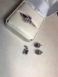 Genuine 0.64 ct Amethyst & Diamond Ring 14K white gold(Whole Set 4 )