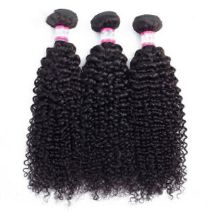 Mongolian Afro Kinky Curly Weave Human Hair Extensions Natural Black 10-28inch