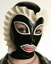 Latex Rubber Mask Hood Gummi 0.4mm with Lace Trim Cosplay Party Wear Unique