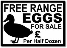 Plastic FREE RANGE DUCK EGGS FOR SALE Sign. Price can be added for you.