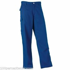 "Royal Blue Size 38"" Waist Tall Leg Russell Work Wear Trousers Pants Cargo 001M"