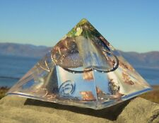 RESONATING Orgone Pyramid with Frequency Charged KYANITE, QUARTZ Crystal, JADE.