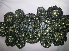 "Rhinestone diamonte iron on applique 7"" by 3"""