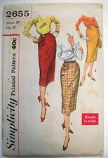 1950's women's Sheath thinning skirt side detailing pattern 2655 size 26 waist