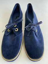 VTG NOS NEW Grasshoppers Women's 9 Slim Narrow Navy Blue Lace Up Velveteen Suede