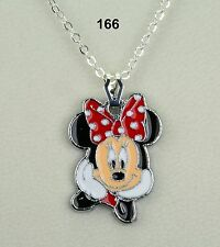 Minnie Mouse Disney inspired pendant necklace on silver-plated chain - nice gift