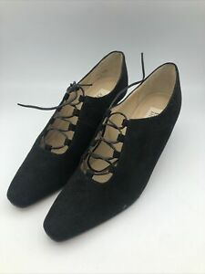 Vintage Enzo Angiolini Black Lace Up Shoes 10 Wing Tip Wedding