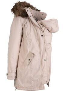 Damen Warme Umstandsjacke mit Baby-Einsatz und Tunnelzug  in mattrose Gr. 50