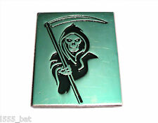 Grim Reaper Skeleton & Scythe Biker Rocker Emo Punk Death Metal Enamel Badge