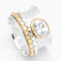 925 Sterling Silver  Band & Crystal Spinner Ring Handmade Ring  Size-N Ring V-70
