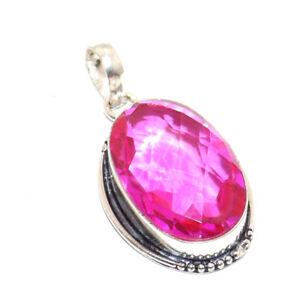 "Pink Quartz 925 Silver Plated Pendant 1.8 "", B3044"