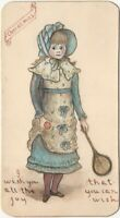 Edwardian Ink & Watercolor Christmas Drawing on Board of Girl with Tennis Racket