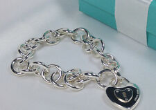 NEW Tiffany & Co. Round Link Clasping End Heart Lock Charm Bracelet Silver 925
