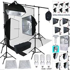 Backdrop Support Stand Photography Studio Video Softbox Lighting Kit Black/White