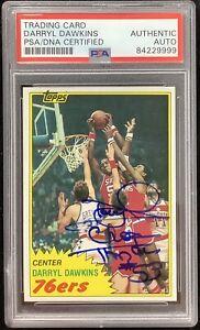 Darryl Dawkins Signed 1981 Topps #29 Basketball Card HOF 76ers Autograph PSA/DNA