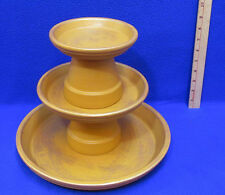 Terra Cotta Planter Pots Stacked Tier Bird Feeder Appetizer Tray Display Gold