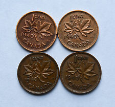 1940 CANADA 1 CENT 4 COINS KM32