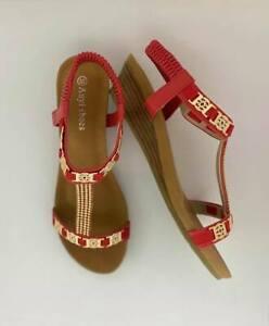 Women sandals wedge shoes designer auyi ladie's bridal resort red