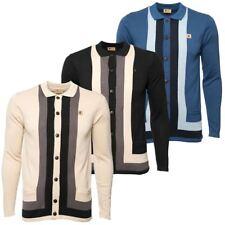 Gabicci Vintage Mens Long Sleeve Polo Collar Retro Stripe Yardie Cardigan Top